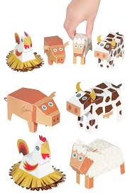 farm animals paper toys diy paper craft kit 3d paper
