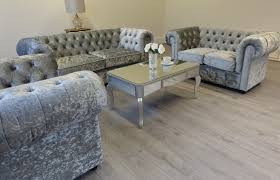 Chesterfield Sofa Suite Empire Grey Silver Crushed Velvet Chesterfield Sofa Abreo Home