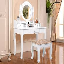 White Vanity Set For Bedroom White Vanity Makeup Dressing Table With Rotating Mirror 3