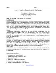reading worksheets sixth grade reading worksheets