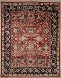 Rugs With Red Accents Handmade And Knotted Rectangular Sultanabad Area Rug With Red