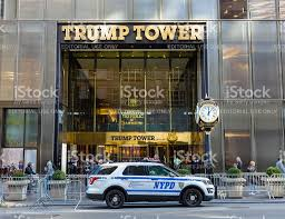 trump tower guarded by nyc police 5th avenue manhattan ny stock