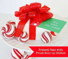 present cake with fruit roll up bow fruit roll sweets christmas