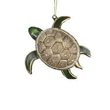 kurt adler glass glitter sea turtle ornament 4 75 inch