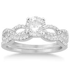 infinity wedding rings infinity twisted diamond ring matching bridal set palladium 0 34ct