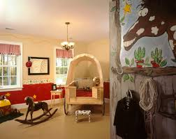 themes for home decor inspiring playroom design showcasing amusing horse mural painting