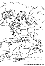 coloriage barbie au jardin a imprimer fee feerique doctissimo