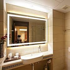 Backlit Mirrors Bathroom Dimmable Led Backlit Mirror Anti Fog Illuminated Vanity Mirror