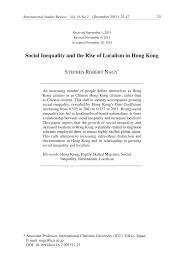 social inequality and the rise of localism in hong kong