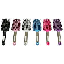 Sisir Roll solid color plastic hair brush drying tips roll wavy curling comb