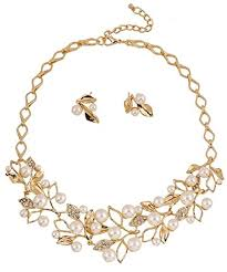 golden fashion necklace images Buy shining diva fashion 18k gold plated pearl necklace jewellery jpg