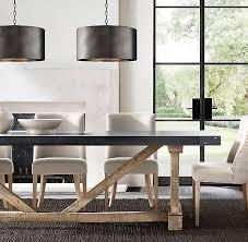 salvaged wood u0026 concrete x base rectangular dining table