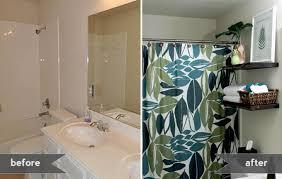 floating shelves in guest bathroom gray house studio