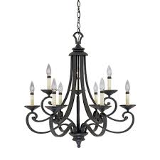 Black Iron Chandeliers Designers Monte Carlo 9 Light Hanging Iron