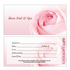gift certificate printing hair nail spa printing