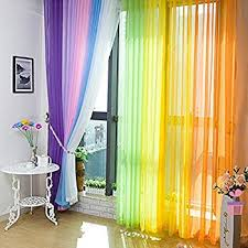 Bright Red Sheer Curtains Amazon Com 6 Piece Rainbow Sheer Window Panel Curtain Set Blow