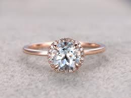 aquamarine engagement rings 7mm round aquamarine engagement ring diamond wedding ring 14k rose