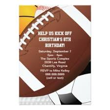 sports birthday birthday party invitations