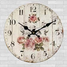 home decor wall clock retro round wood shabby chic art works peony