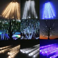 8x meteor shower falling drop icicle snow led tree