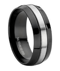 stainless steel wedding bands stainless steel black men s wedding band large promise ring