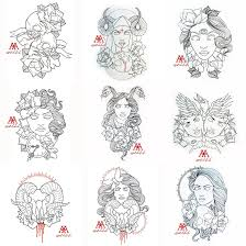 tattoo outlines 9 pcs pack part 1 free download by mweiss art on