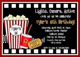 Invitation Card 7th Birthday Boy Movie Birthday Invitations Movie Night Birthday Party Invitation