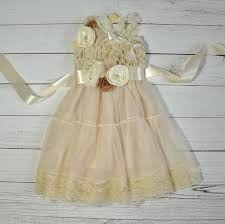 lace vintage shabby chic rustic ivory blush flower dress baby