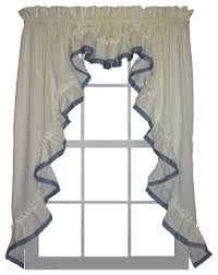 Country Ruffled Valances 3 Piece Country Ruffled Swags And Valance Curtain Set With Banded