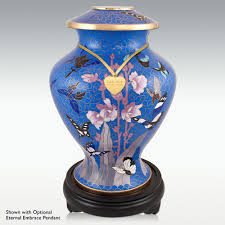 butterfly urn bliss cloisonne cremation urn wood base