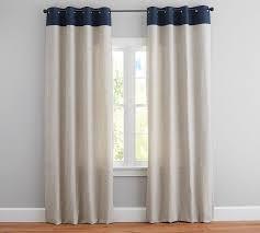 Linen Curtains With Grommets Emery Border Linen Drape Pottery Barn
