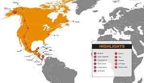 Alaska Route Map by Alaska To Panama Overland Adventure Tour Madventure Budget