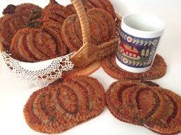 rug hooking pattern pumpkin mug rugs j844 primitive rug hooked