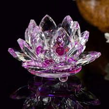 glass purple leaves lotus figurines feng shui paperweight