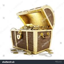 treasure chest full gold coins isolated stock illustration