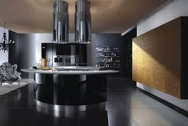 modern kitchen black appliances with round kitchen table design