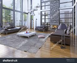 high ceiling living room fireplare modern stock illustration