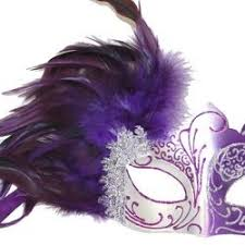 silver mardi gras mask purple and silver masquerade mask with purple feathers on the side
