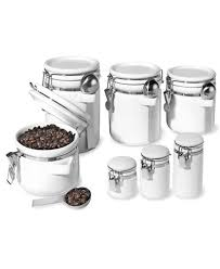 pottery canisters kitchen oggi food storage containers 7 set ceramic canisters