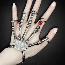 skull hand bracelet images Gothic punk skull finger bracelet redness zircon jewelry for women jpg
