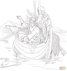 jesus teaches from boat coloring page free printable coloring pages