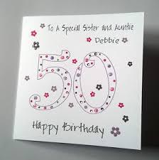 personalised handmade 50th birthday card daughter sister niece