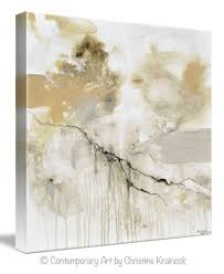 Contemporary Art Home Decor Giclee Print Art White Grey Abstract Painting Modern Neutral Wall