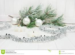 christmas decorations with snow covered twig royalty free stock