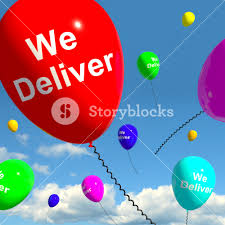 deliver ballons we deliver balloons showing delivery shipping service or logistics