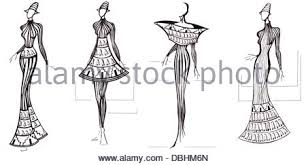 sketch of fashion model design of dresses based on spire of