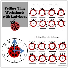 telling time worksheets with ladybugs facebook png