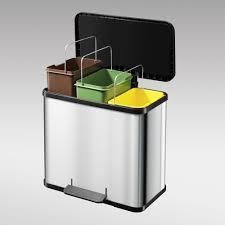poubelle cuisine rectangulaire poubelle de tri sélectif à pédale rectangulaire trento oko trio 33
