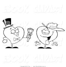 clip art of a black and white romantic heart giving his love a