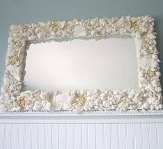 beach decor white seashell mirror nautical by beachgrasscottage